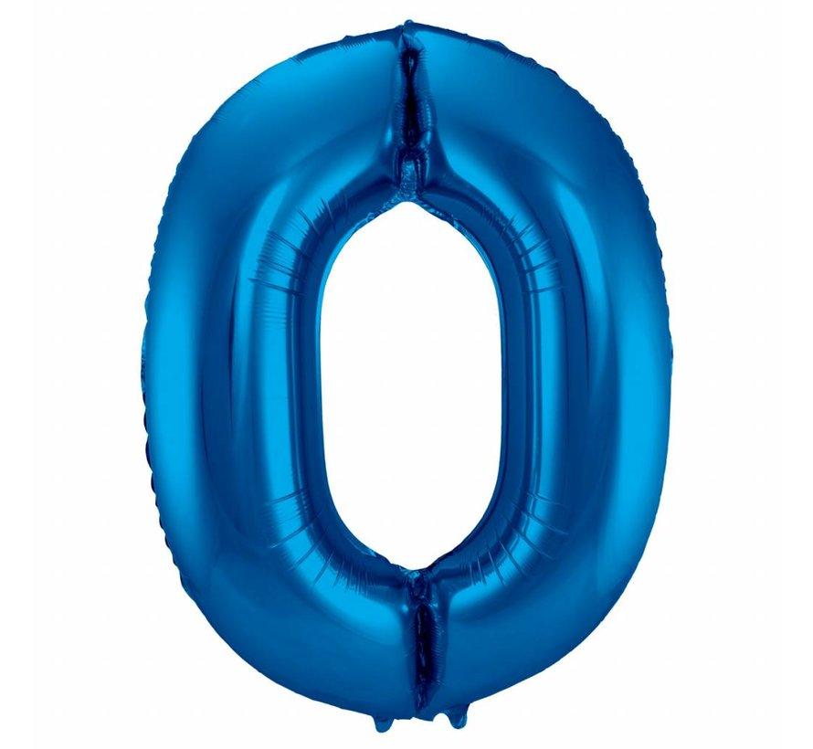 Cijfer Ballon Blauw 0 - per stuk