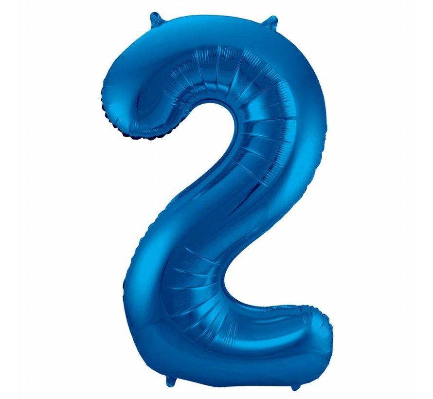 Cijfer Ballon Blauw 2 - 86cm
