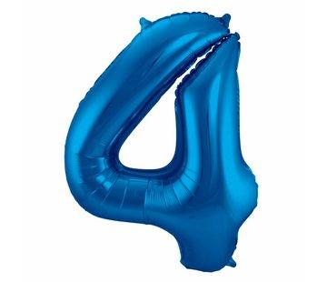 Cijfer Ballon Blauw 4 - 86cm