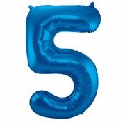 Cijfer Ballon Blauw 5 - per stuk