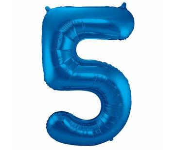 Cijfer Ballon Blauw 5 - 86cm