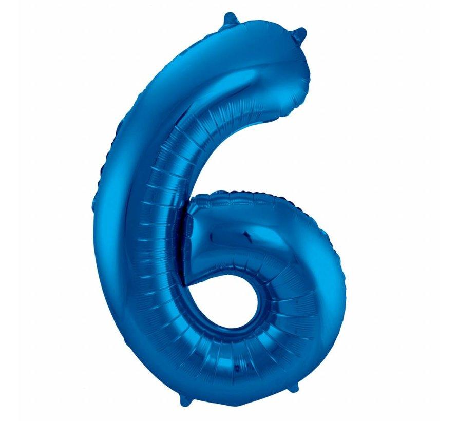 Cijfer Ballon Blauw 6 - 86cm