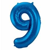 Cijfer Ballon Blauw 9 - per stuk