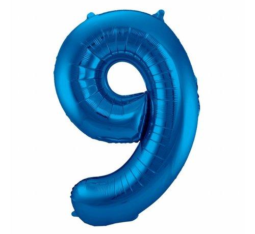 Cijfer Ballon Blauw 9 - 86cm