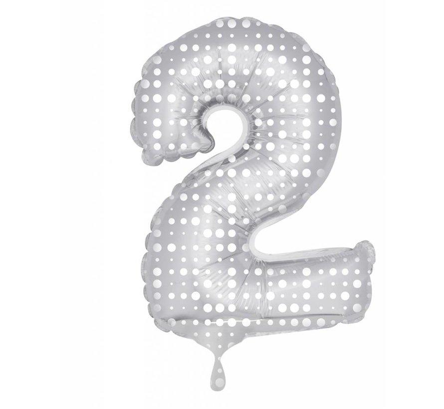 Cijfer Ballon Zilver met Stippen 2 - per stuk