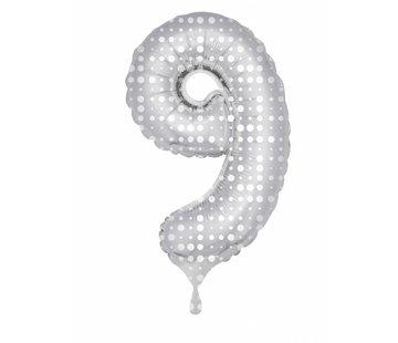 Cijfer Ballon Zilver met Stippen 9 - 86cm