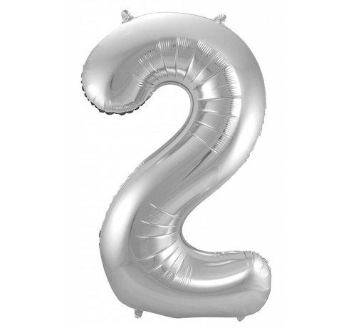 Cijfer Ballon Zilver 2 - 86cm