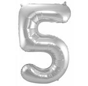 Cijfer Ballon Zilver 5 - 86cm