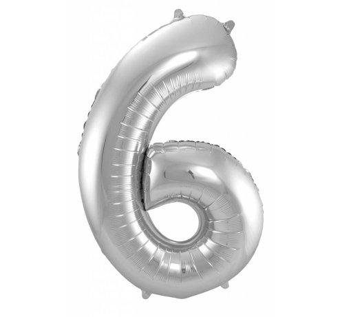 Cijfer Ballon Zilver 6 - per stuk