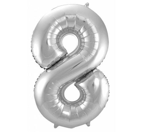 Cijfer Ballon Zilver 8 - 86cm