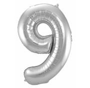 Cijfer Ballon Zilver 9 - 86cm