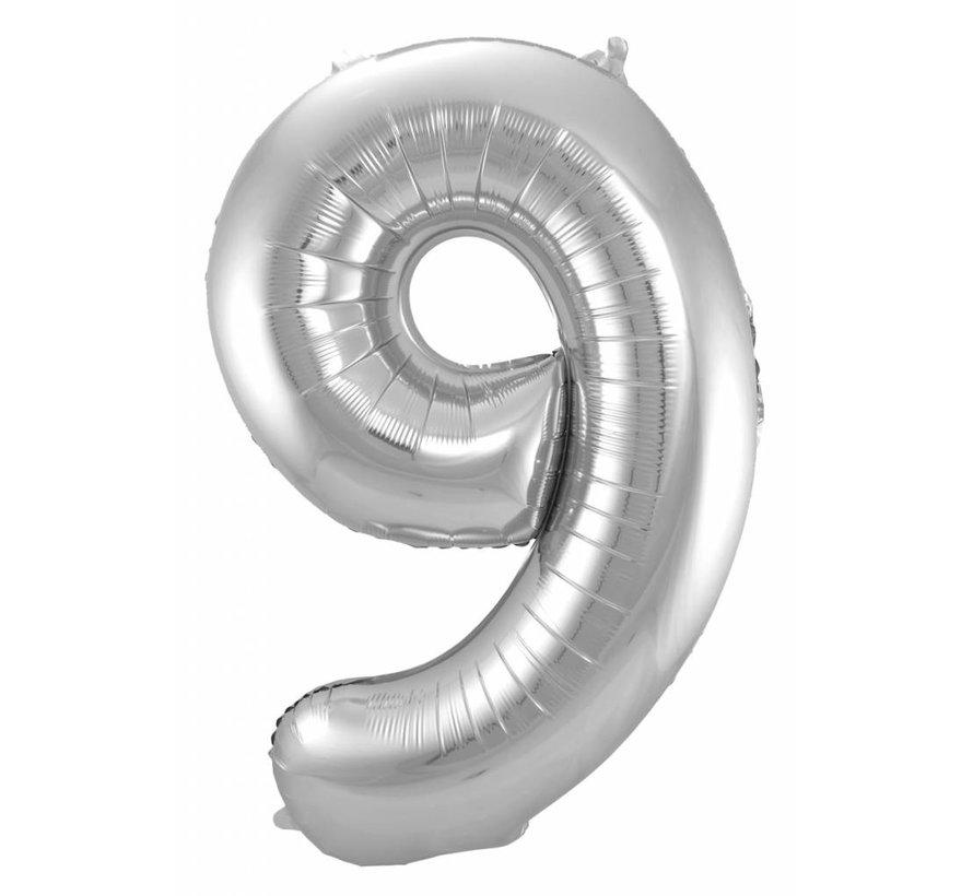 Cijfer Ballon Zilver 9 - per stuk