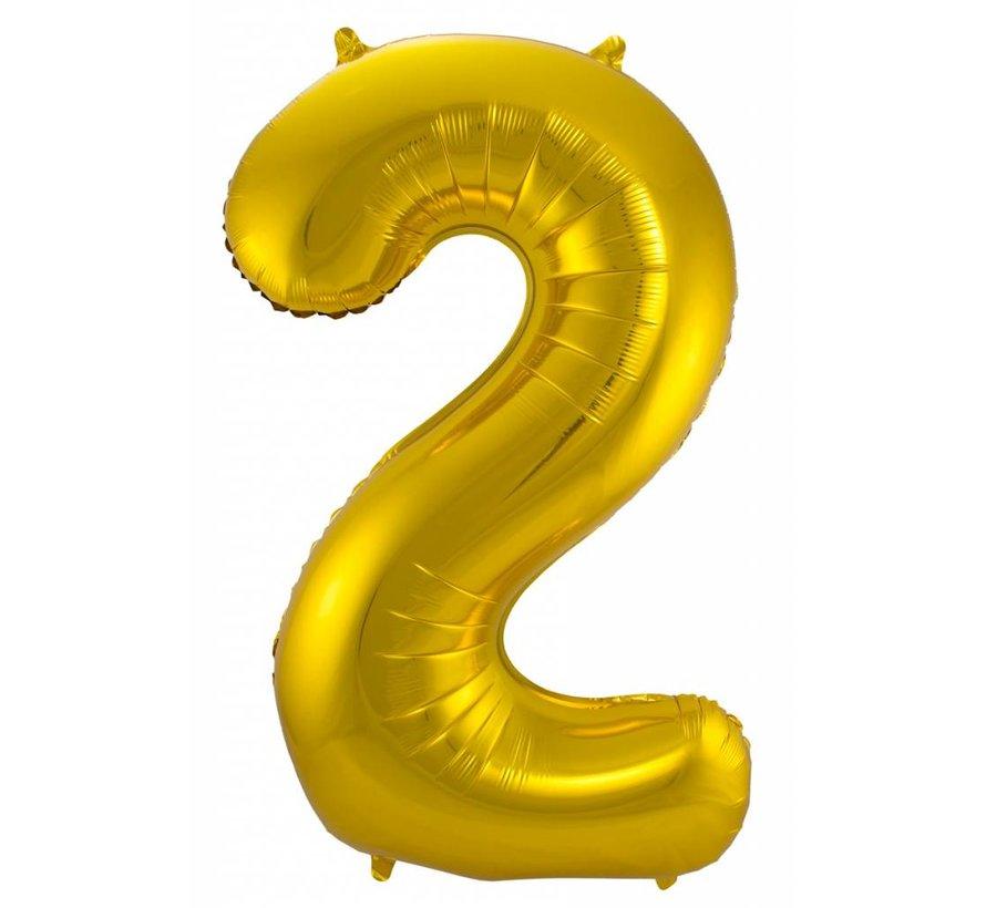 Cijfer Ballon Goud 2 - 86cm