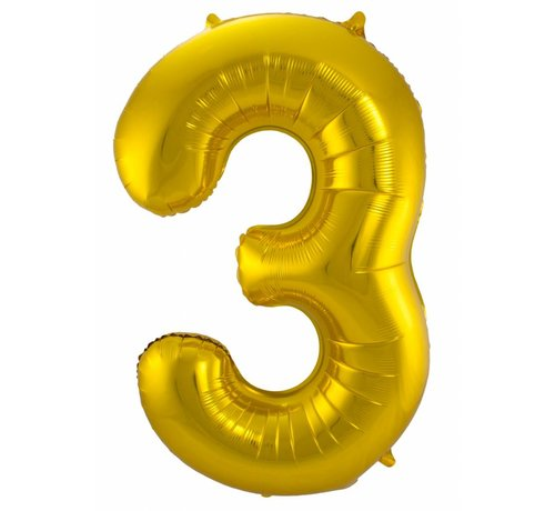 Cijfer Ballon Goud 3 - 86cm