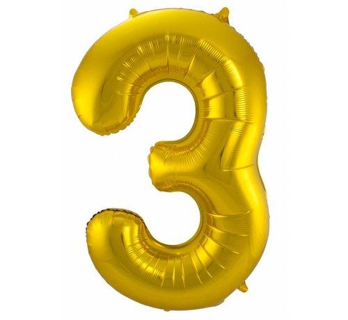 Cijfer Ballon Goud 3 - per stuk