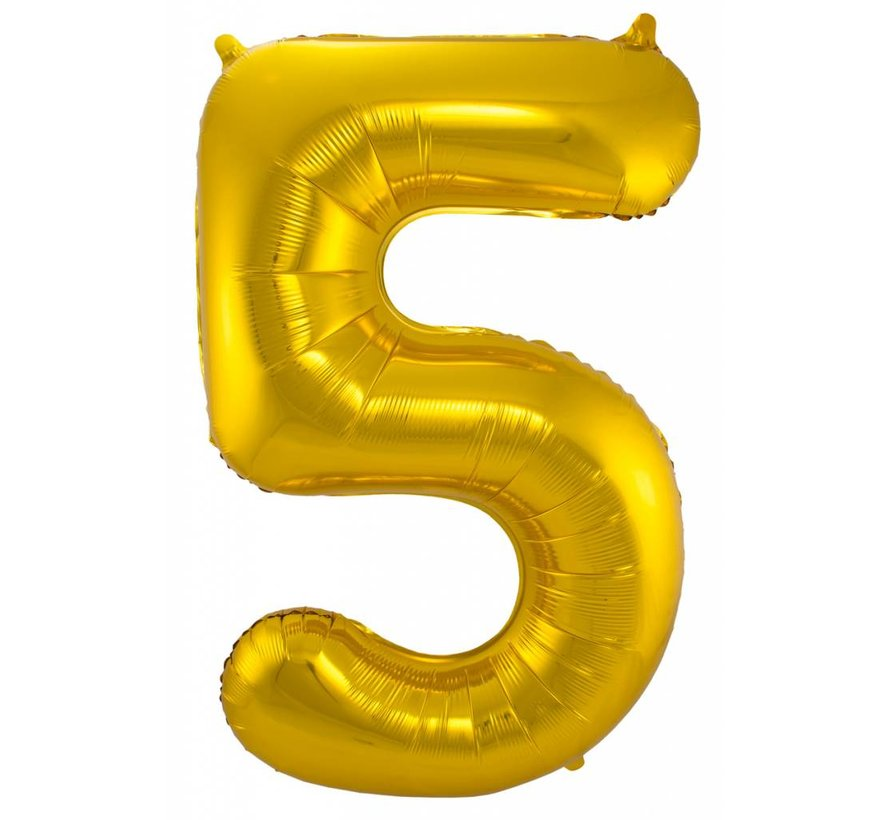 Cijfer Ballon Goud 5 - 86cm