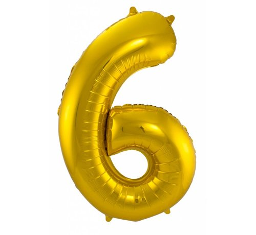 Cijfer Ballon Goud 6 - 86cm
