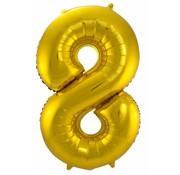 Cijfer Ballon Goud 8 - 86cm