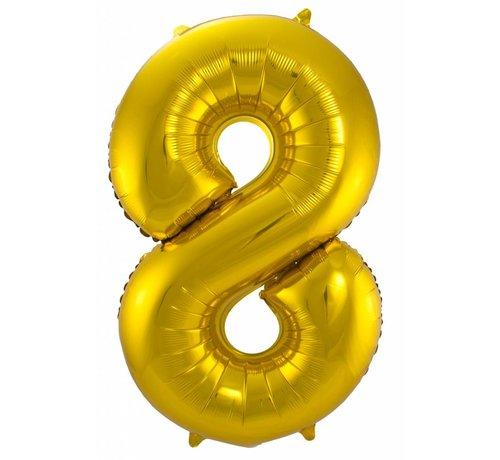 Cijfer Ballon Goud 8 - per stuk