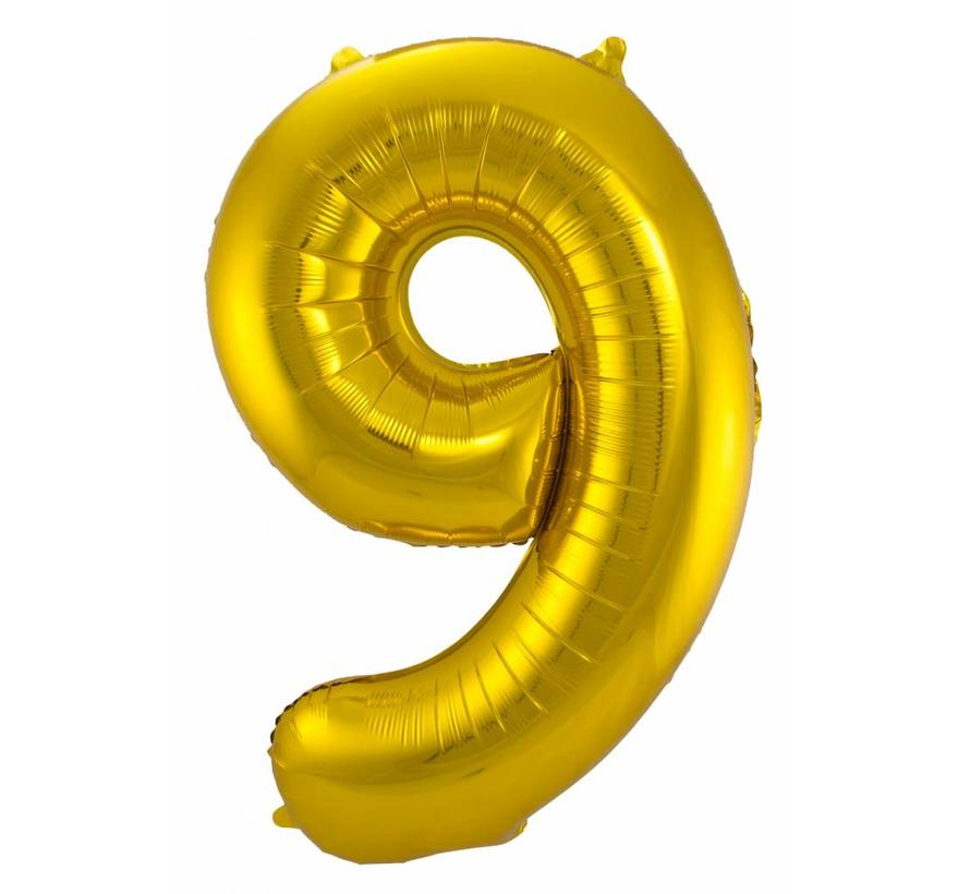 Cijfer Ballon Goud 9 - 86cm