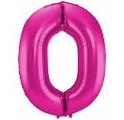 Cijfer Ballon Paars 0 - 86cm