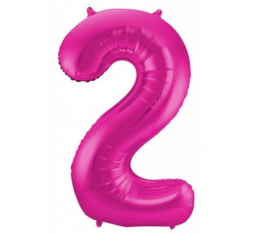 Cijfer Ballon Paars 2 - 86cm