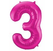 Cijfer Ballon Paars 3 - 86cm