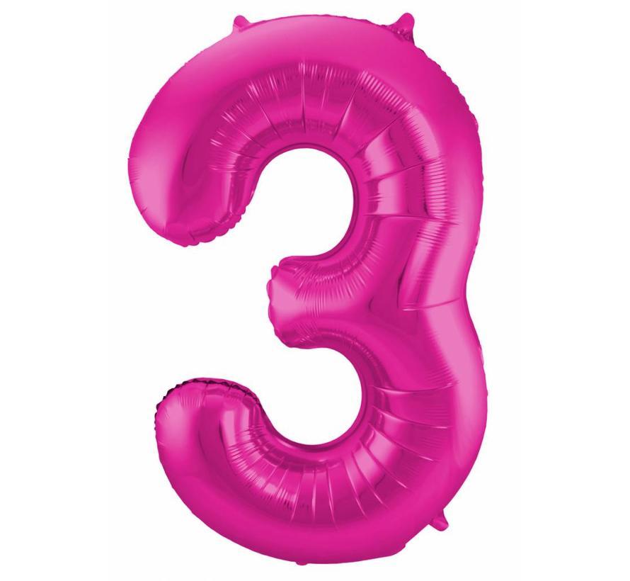Cijfer Ballon Paars 3 - per stuk