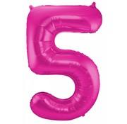 Cijfer Ballon Paars 5 - per stuk