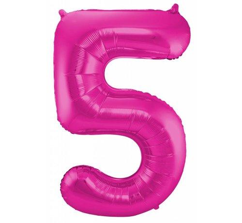 Cijfer Ballon Paars 5 - 86cm