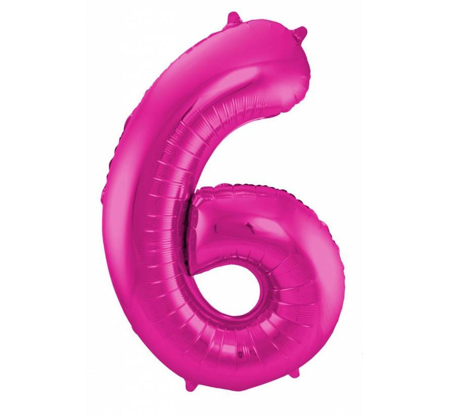 Cijfer Ballon Paars 6 - 86cm