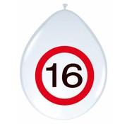 Ballonnen 16 jaar Verkeersbord 30 cm  - 8 stuks