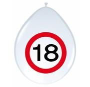 Ballonnen 18 jaar Verkeersbord  30 cm - 8 stuks