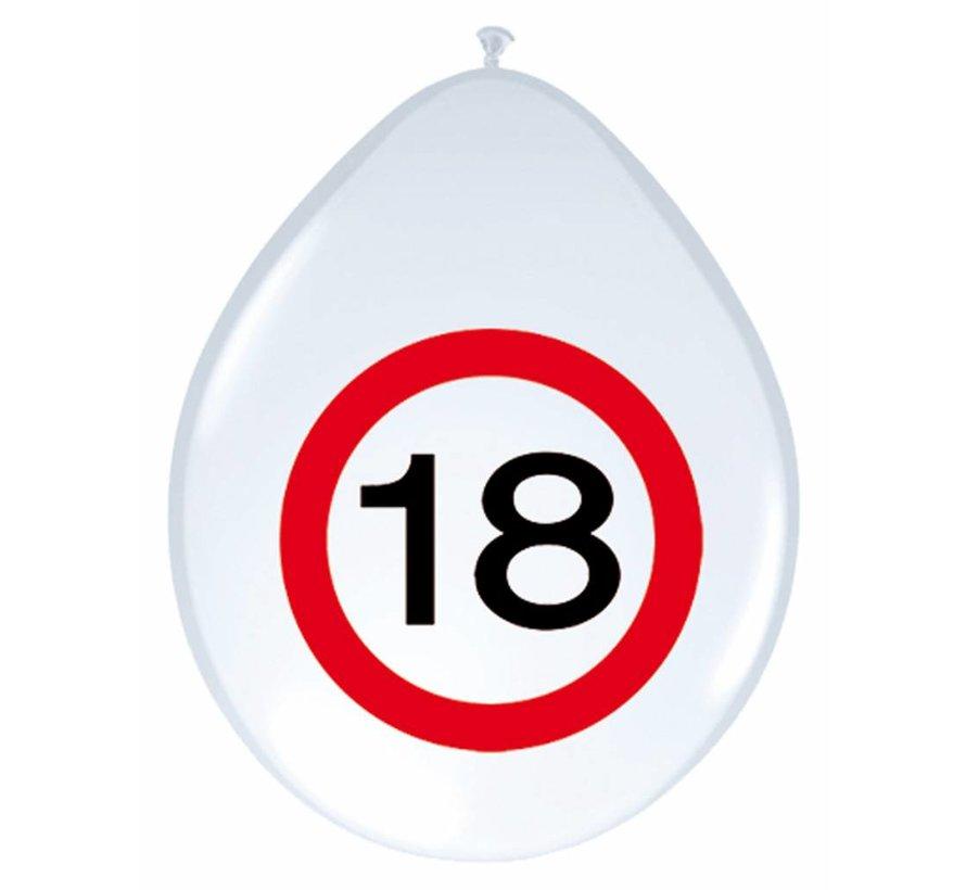 Ballonnen 18 jaar Verkeersbord  30cm - 8 stuks