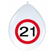 Ballonnen 21 jaar Verkeersbord 30cm - 8 stuks