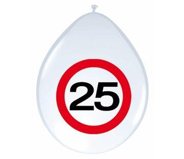 Ballonnen 25 jaar Verkeersbord - 8 stuks