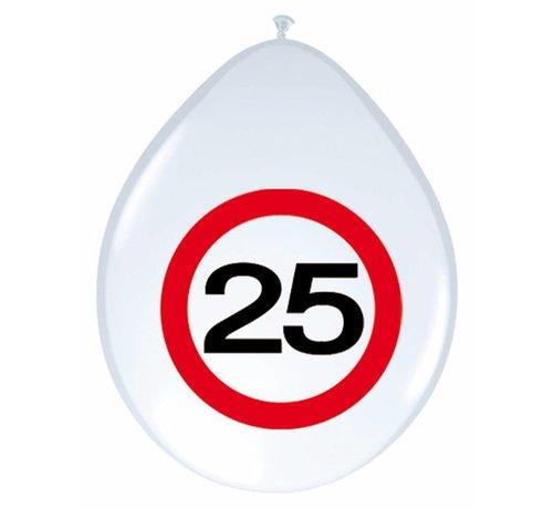 Ballonnen 25 jaar Verkeersbord 30cm - 8 stuks