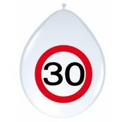 Ballonnen 30 jaar Verkeersbord 30cm - 8 stuks