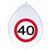 Ballonnen 40 jaar Verkeersbord - 8 stuks