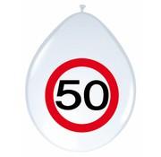 Ballonnen 50 jaar Verkeersbord 30cm - 8 stuks