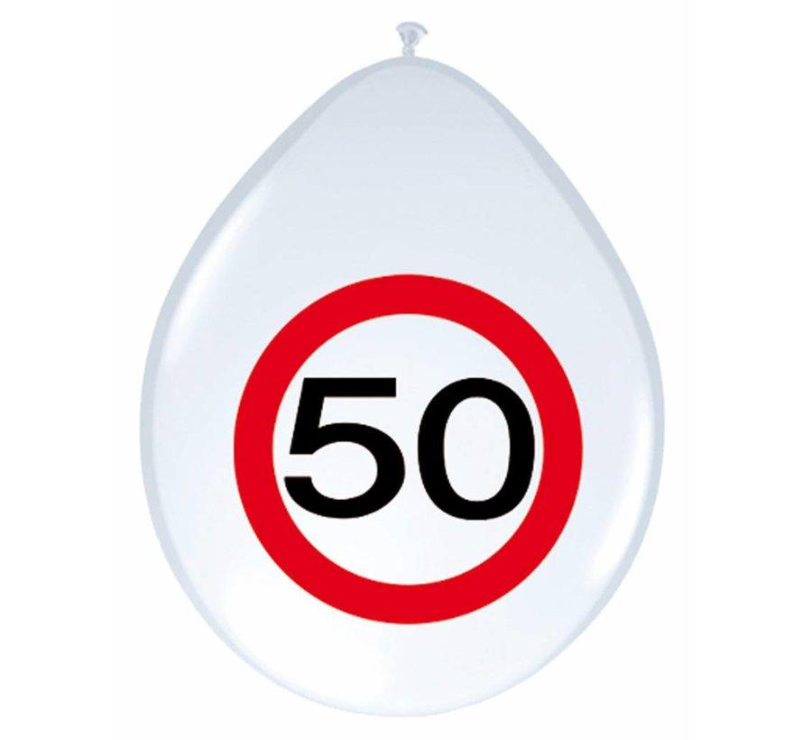 Ballonnen 50 jaar Verkeersbord - 8 stuks