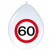 Ballonnen 60 jaar Verkeersbord 30cm - 8 stuks