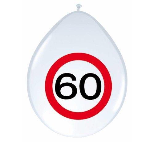 Ballonnen 60 jaar Verkeersbord - 8 stuks