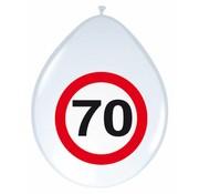 Ballonnen 70 jaar Verkeersbord 30cm - 8 stuks