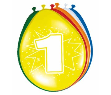 Verjaardag Ballonnen 1 jaar 30cm - 8 stuks