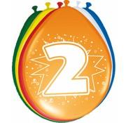 Verjaardag Ballonnen 2 jaar - 8 stuks