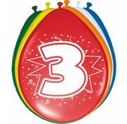 Verjaardag Ballonnen 3 jaar 30 cm - 8 stuks