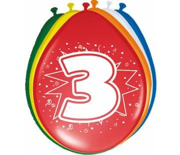 Verjaardag Ballonnen 3 jaar 30cm - 8 stuks