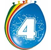 Verjaardag Ballonnen 4 jaar 30 cm - 8 stuks