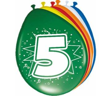 Verjaardag Ballonnen 5 jaar 30cm - 8 stuks